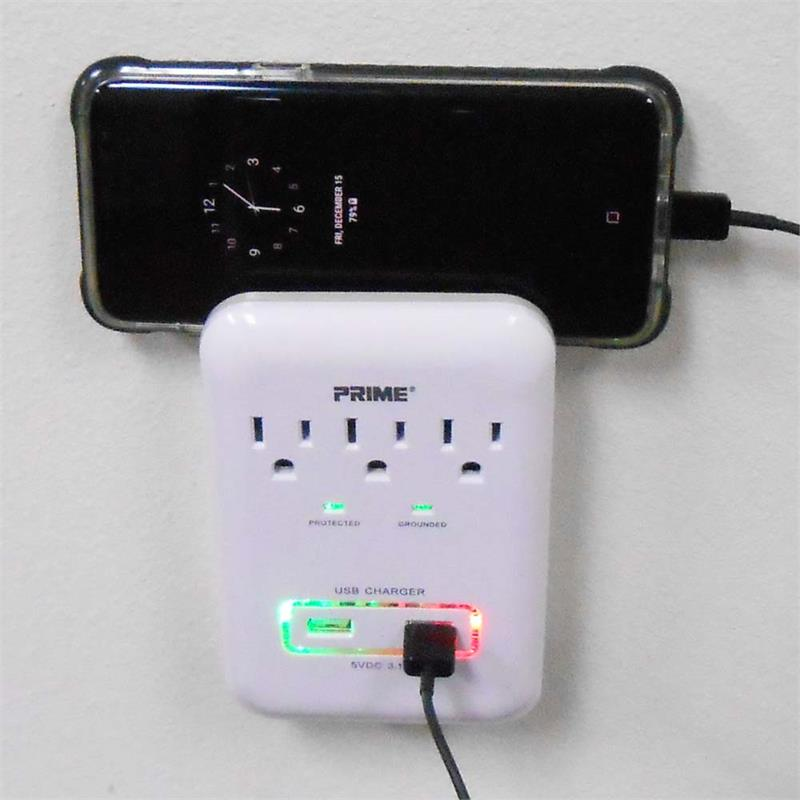 3 Pack 3 Outlet Wall Tap Surge Protector w// 2 USB Ports 900J w//Phone Holder