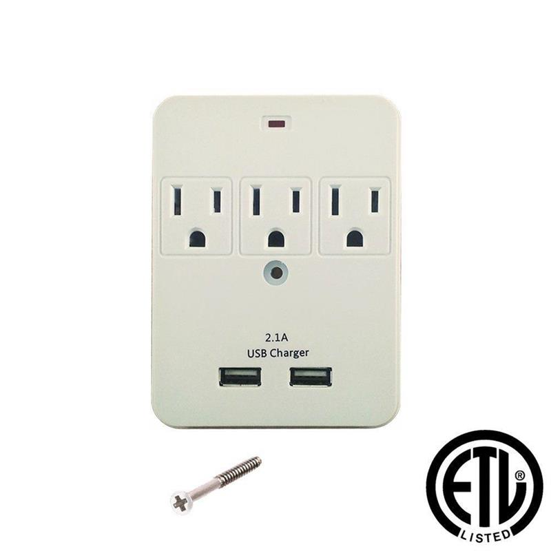 ps103 uninex 3 outlet wall surge protector with 2 usb charging ports rh houseofdeals com